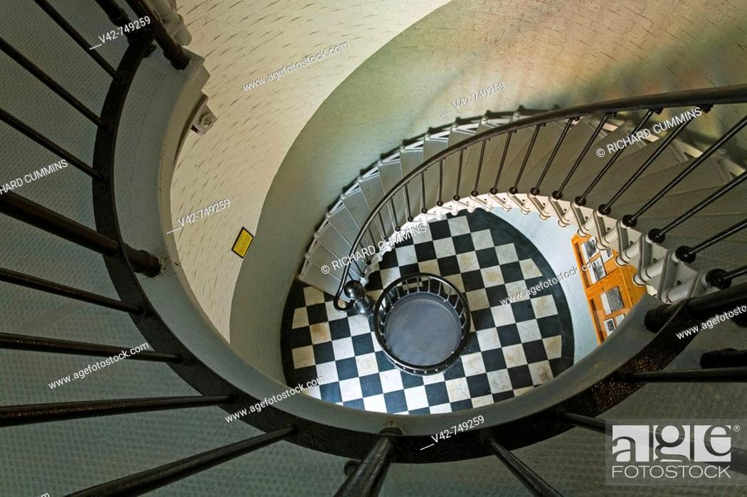 Stock Photo: Spiral stairs in Ponce Inlet Lighthouse, Daytona Beach, Florida, USA.