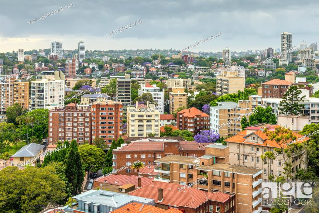 Stock Photo: View of Sydney in cloudy weather - full frame horizontal composition - Potts Point district and other.