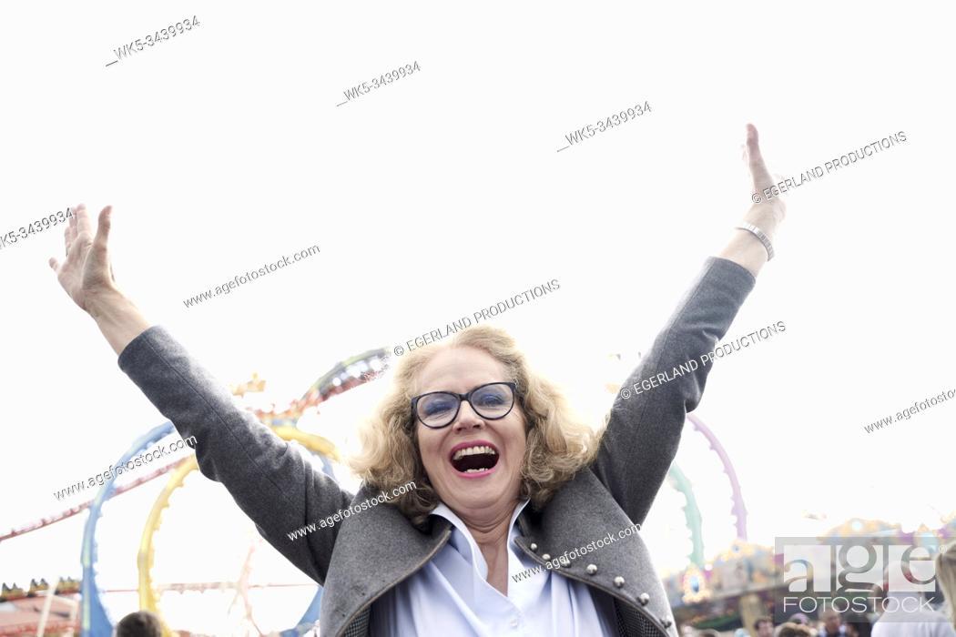 Stock Photo: Bavarian senior woman at Oktoberfest in Munich, Germany.