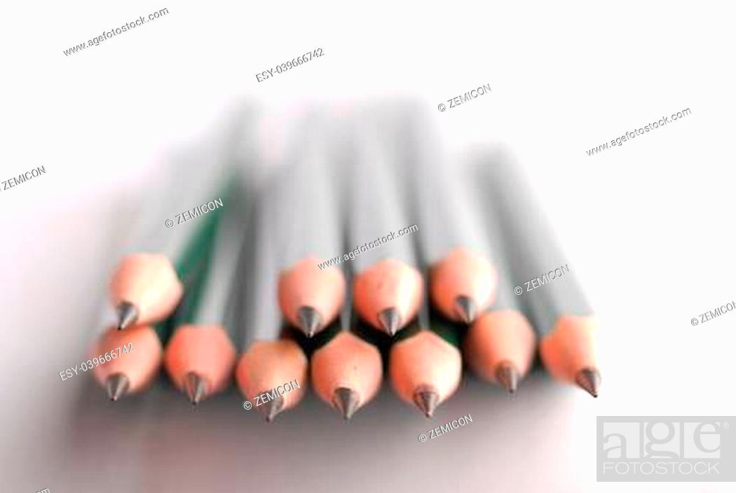 Stock Photo: Stack of sharpened pencils, shallow focus on front center pencil.