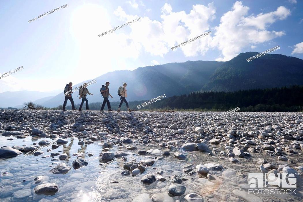 Stock Photo: Germany, Bavaria, Tölzer Land, Group of hikers.