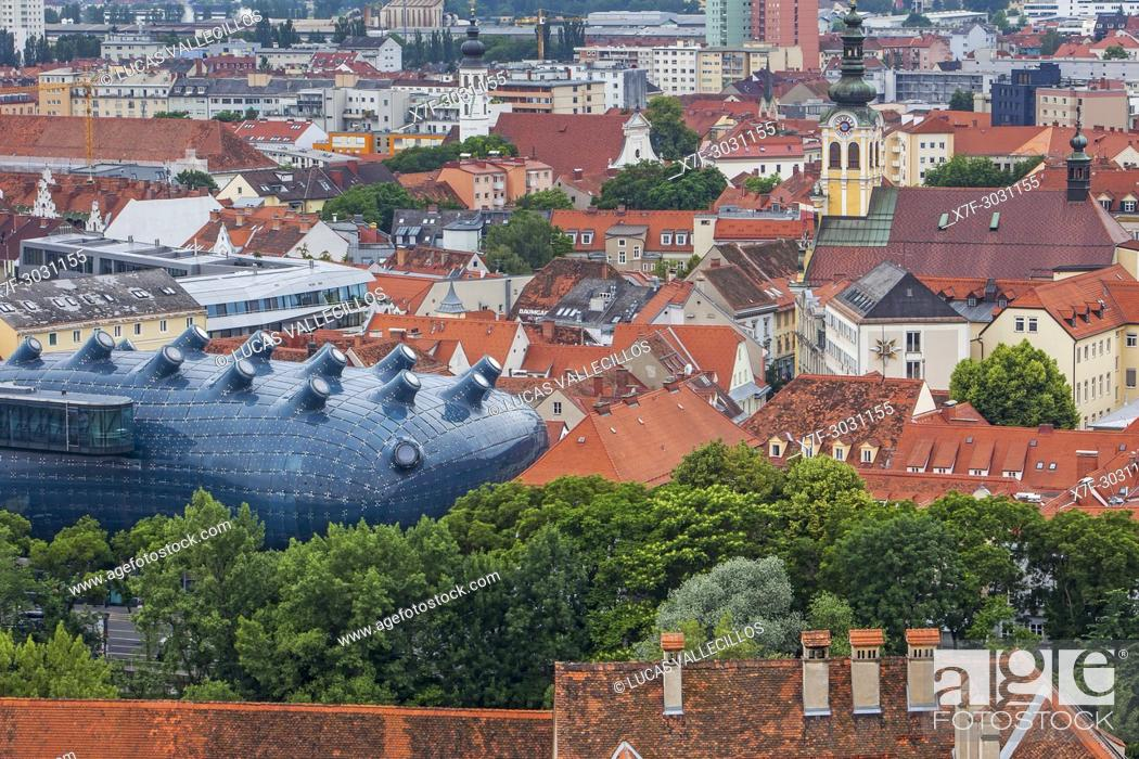 Stock Photo: Roofs of the city and Kunsthaus, Graz Art Museum, view from Schlossberg, castle mountain, Graz, Austria.