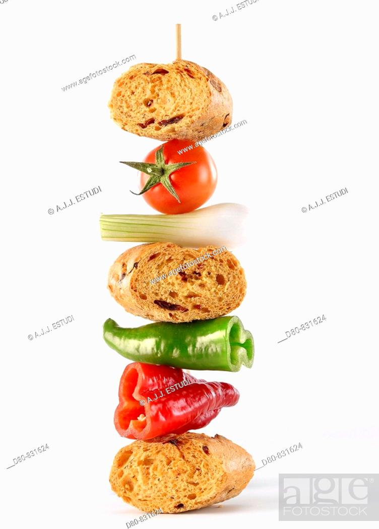 Stock Photo: Bread and vegetables skewer.