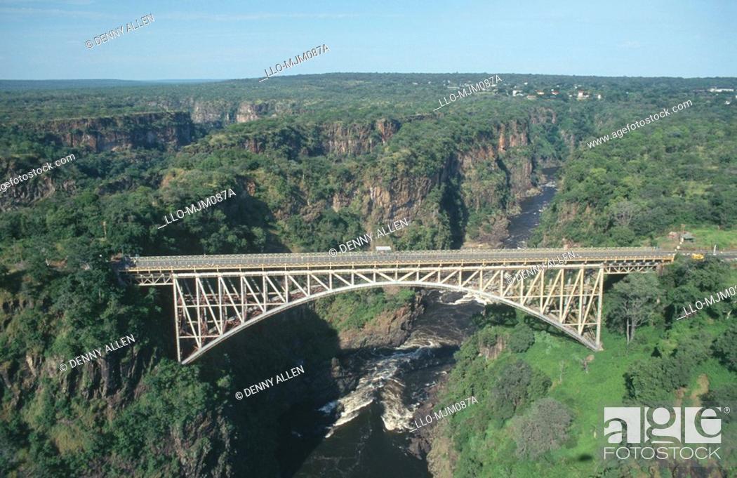 Stock Photo: Bridge over Zambezi River, Victoria Falls, Zimbabwe.