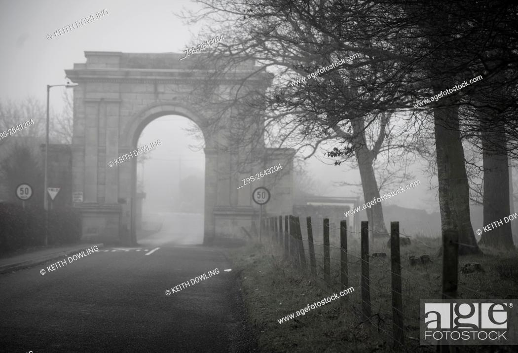 Stock Photo: 19th century arched gateway, near Oak Park, Carlow, Ireland.