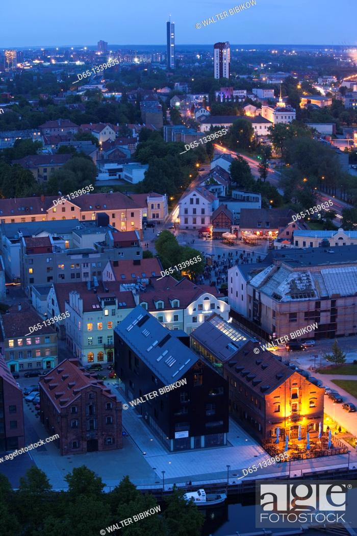 Stock Photo: Lithuania, Western Lithuania, Klaipeda, elevated view of Old Town, evening.