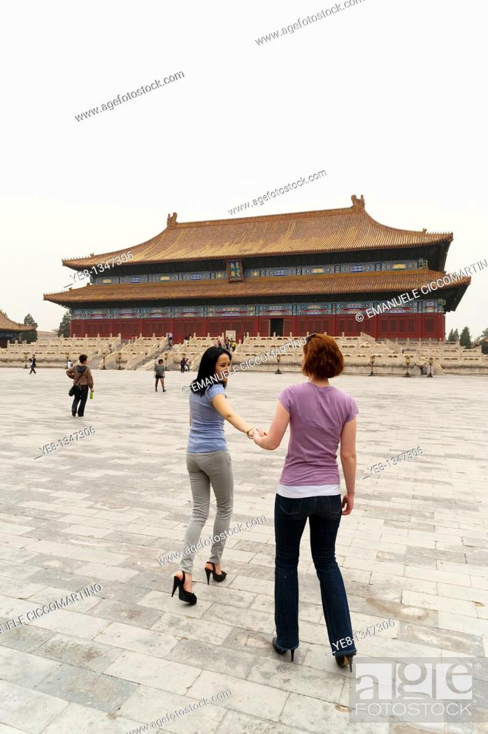 Stock Photo: Tourists in front of the Hall for Worship Of Ancestors, The Forbidden City, Beijing, China, Asia  MR.