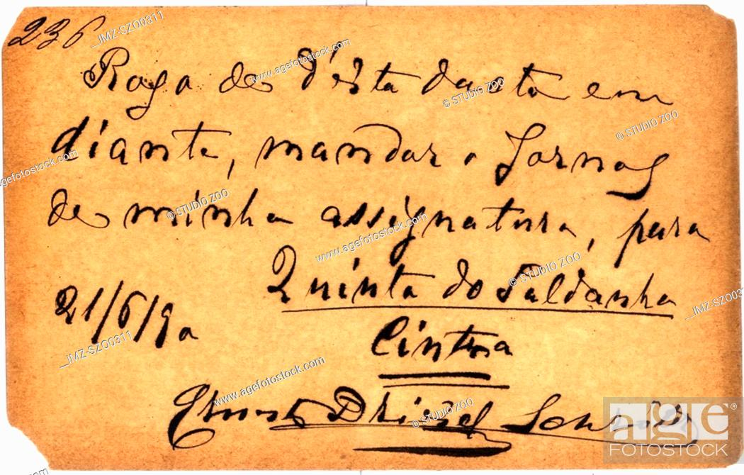 Stock Photo: Vintage postcard with script writing, in Spanish.