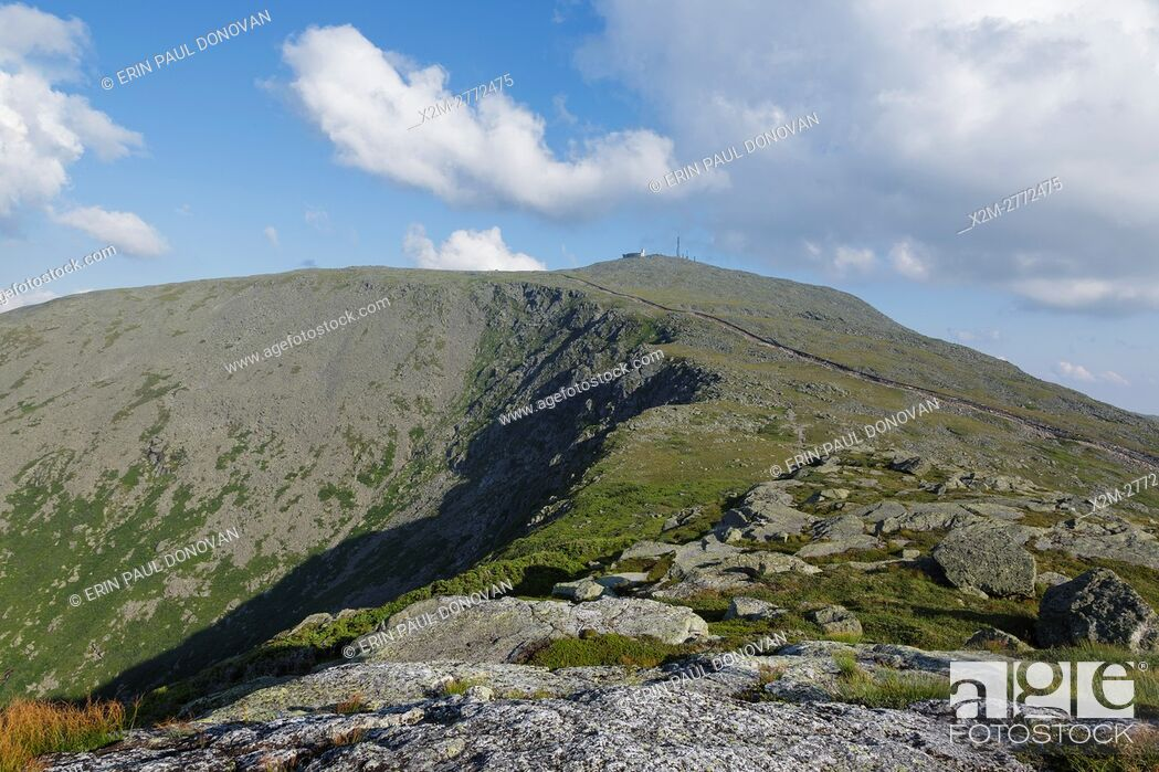 Stock Photo: Mount Washington from Mount Clay in Thompson and Meserve's Purchase, New Hampshire. The Appalachian Trail crosses over the summit of Mount Washington.