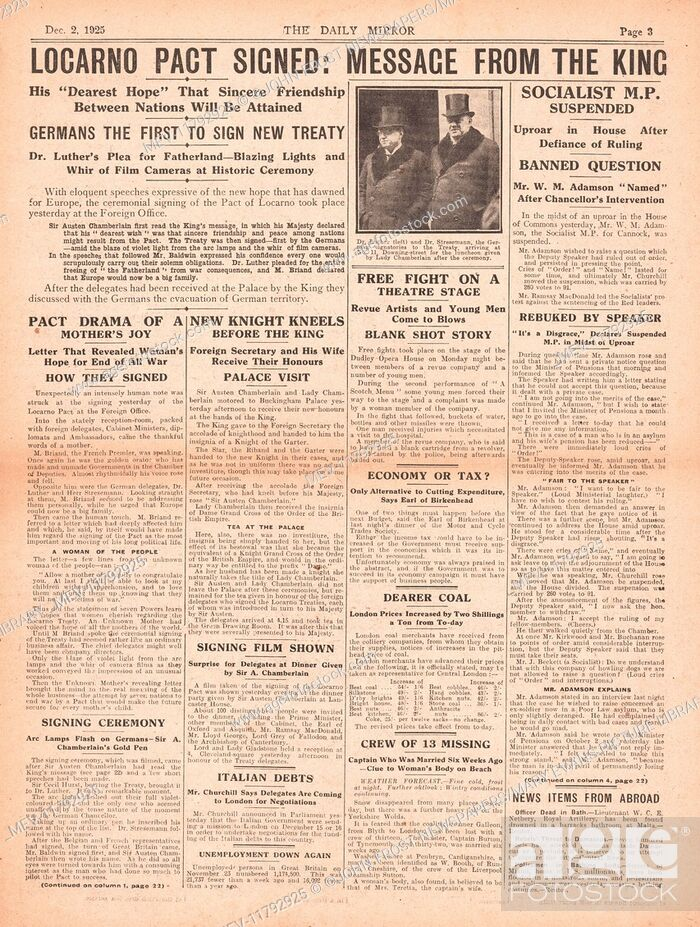 84 1925 Locarno Treaty 1925 Daily Mirror Centre Page Signing Of