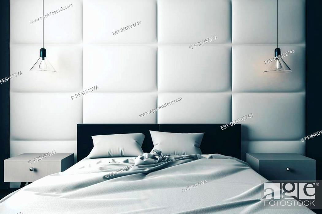 Stock Photo: grey blanket on wooden bed in loft style room with concrete details. 3D rendering.