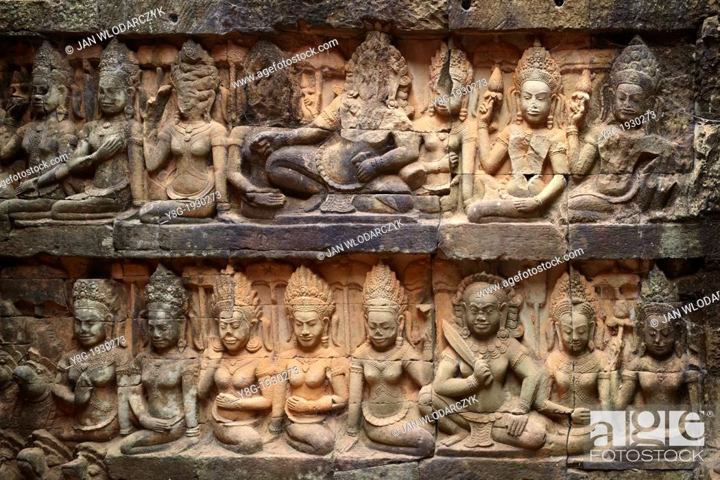 Stock Photo: The Terrace of the Leper King - sculptures of the wall of temple, Angkor Temple Complex, Siem Reap Province, Cambodia, Asia.