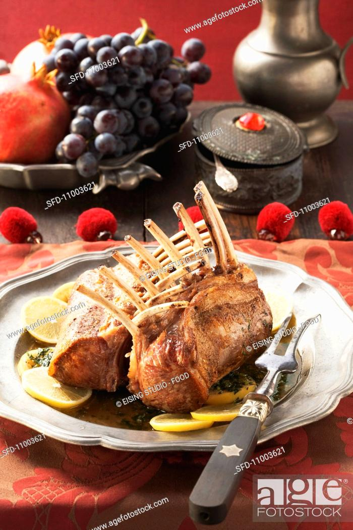Stock Photo: Medieval style saddle of lamb.
