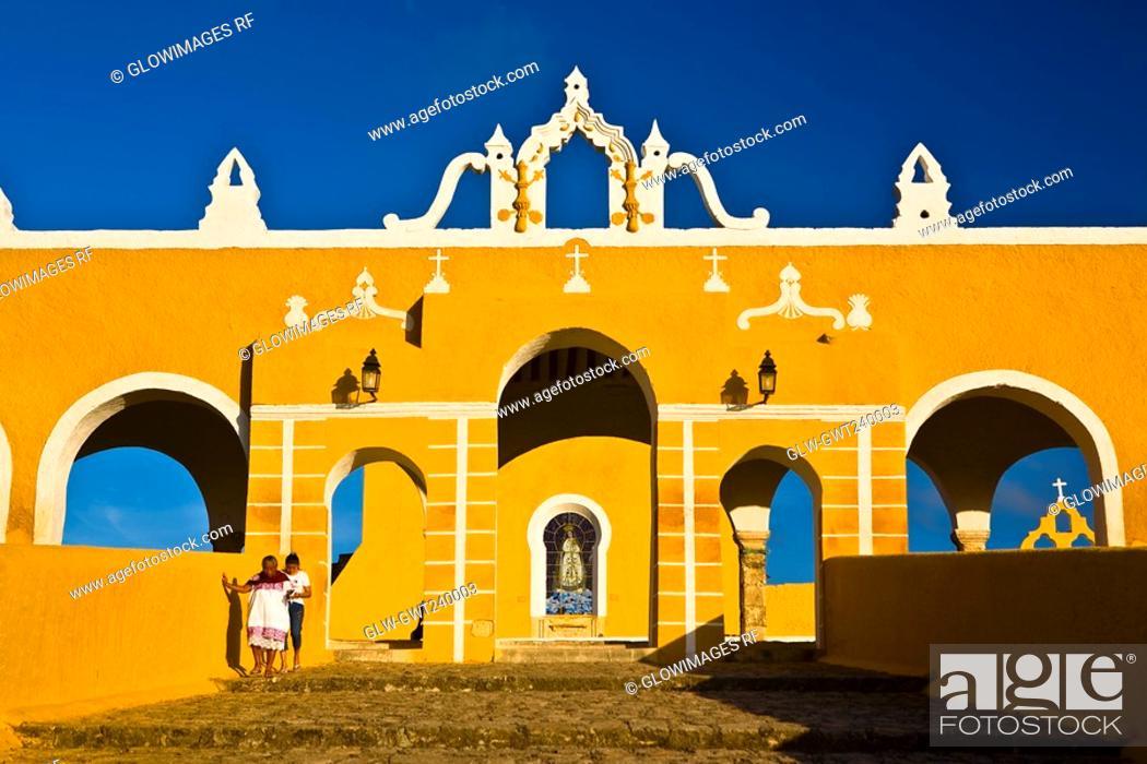 Stock Photo: Facade of a church, Convento De San Antonio De Padua, Izamal, Yucatan, Mexico.