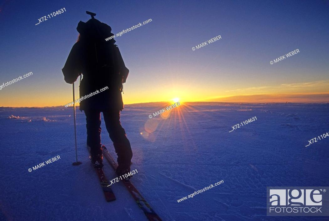 Stock Photo: Woman, backcountry skiing on Deadline Ridge high in the Goose Creek Mountains of southern Idaho.