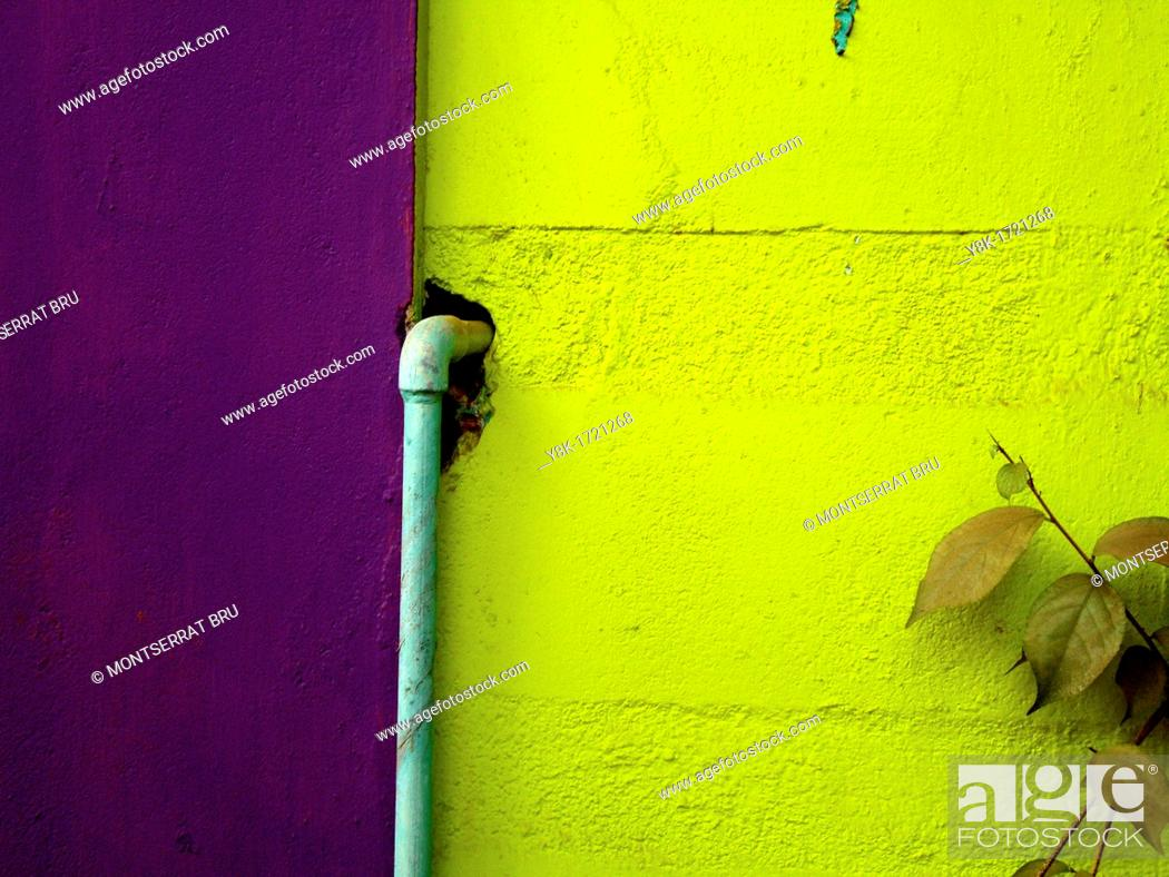 Stock Photo: Green and lilac wall with baby blue waterpipe.