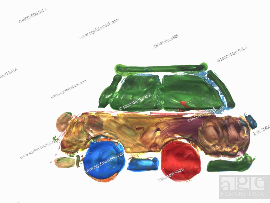 Stock Photo: Children's Hand Painted Picture, Car Isolated on a White Background. . .