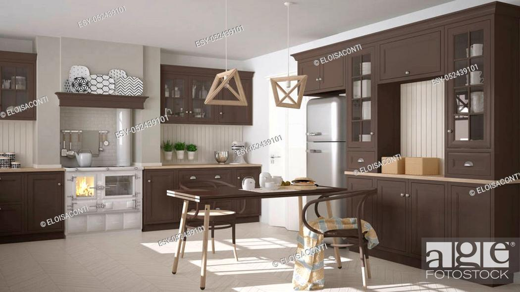 Stock Photo: Scandinavian classic kitchen with wooden and brown details, minimalistic interior design.