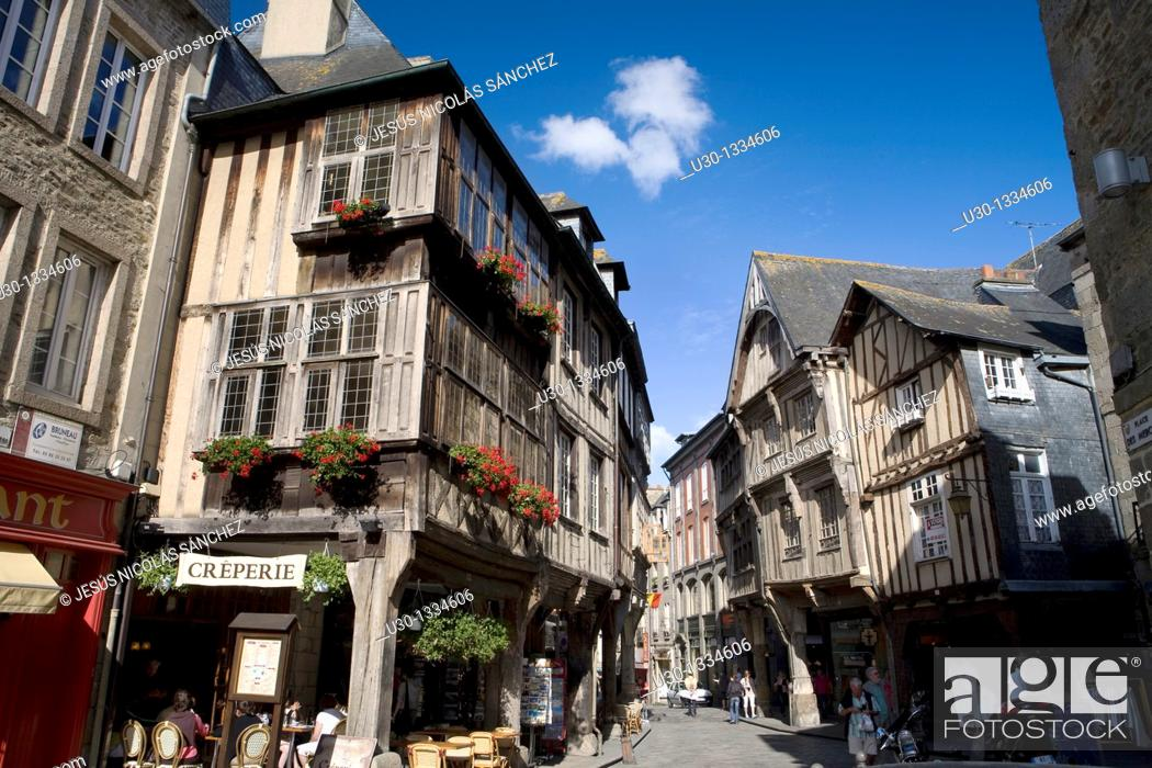 Stock Photo: Typical houses in the old town of Dinan, in Cotes d'Armor department, Brittany  France.
