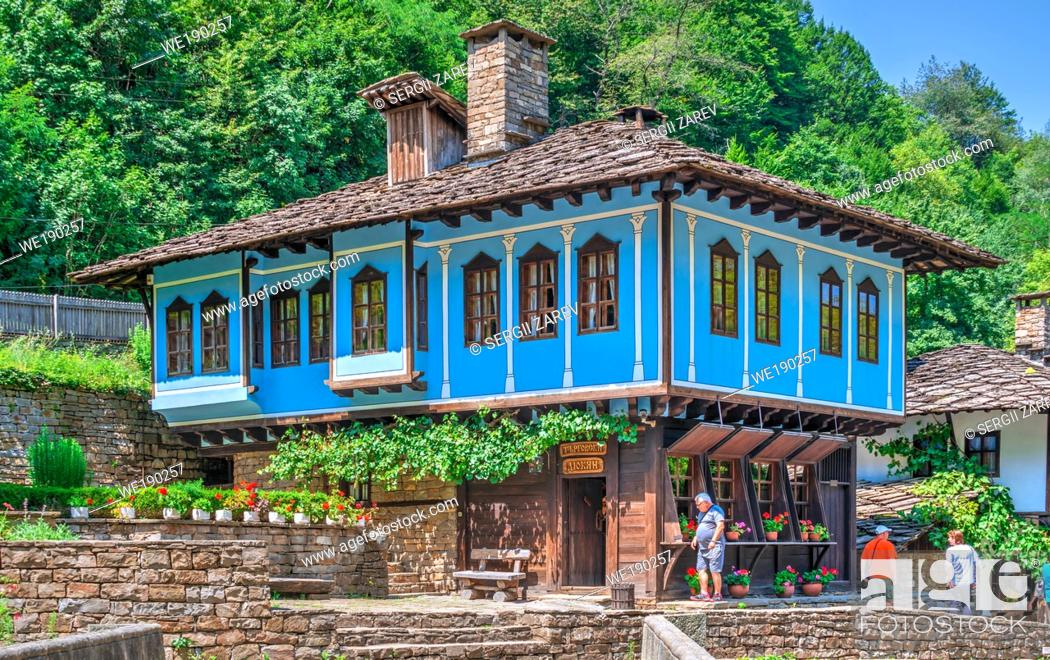 Stock Photo: Craftsman street in the Etar Architectural Ethnographic Complex in Bulgaria on a sunny summer day.