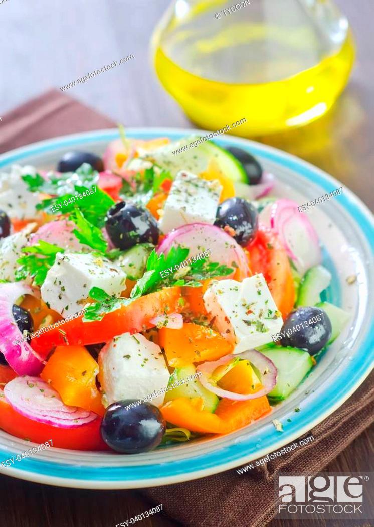 Stock Photo: greek salad.