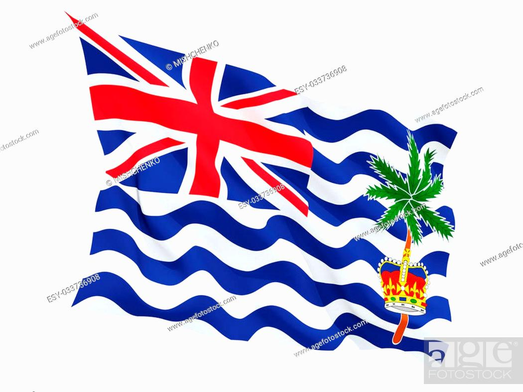 Stock Photo: Waving flag of british indian ocean territory isolated on white.