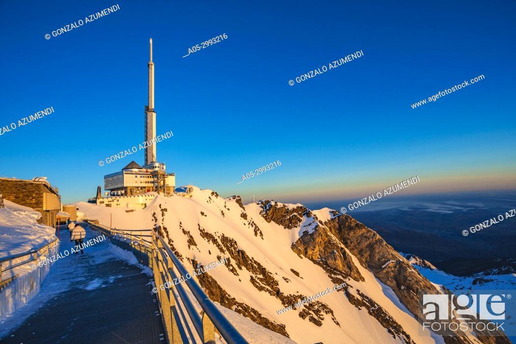 Stock Photo: Pic du Midi de Bigorre. Pic du Midi observatory. Grand Tourmalet ski area. Luz-Saint Sauveur. Hautes-Pyrenees Department. Midi-Pyrenees Region. France.