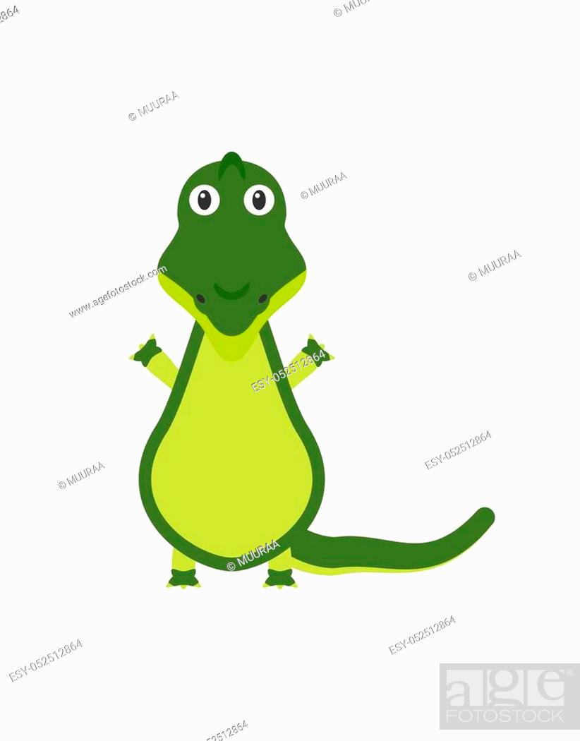 Stock Vector: Crocodile illustration as a funny character. Wild and dangerous aquatic reptile with long tail. Small cartoon creature, isolated object in flat design on white.