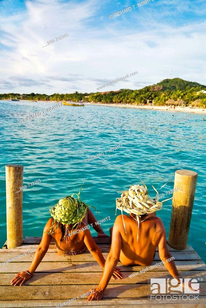 Stock Photo: Roatan's West Bay, Honduras.