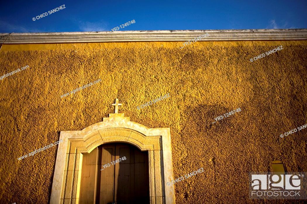 Stock Photo: A facade of a home in Izamal on Mexico's Yucatan peninsula.