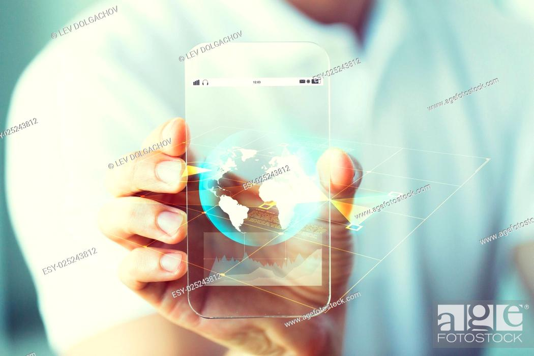 Stock Photo: business, technology, science and people concept - close up of male hand holding and showing transparent smartphone earth globe projection.
