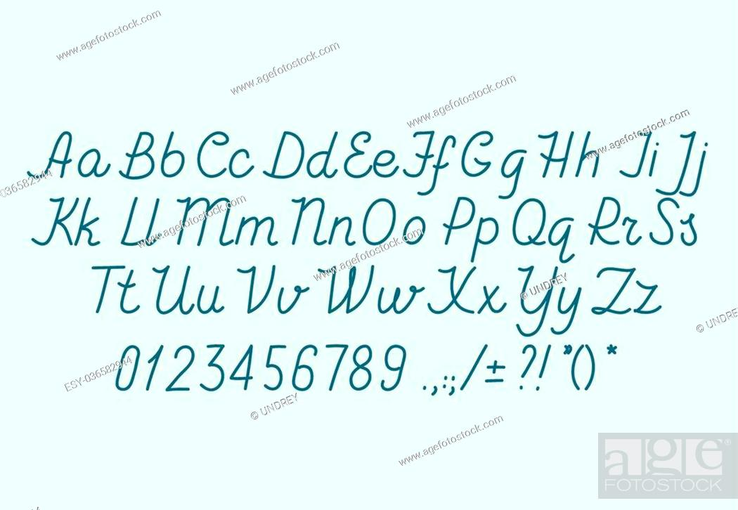 Hand drawin alphabet handwritting abc vector font  Italic