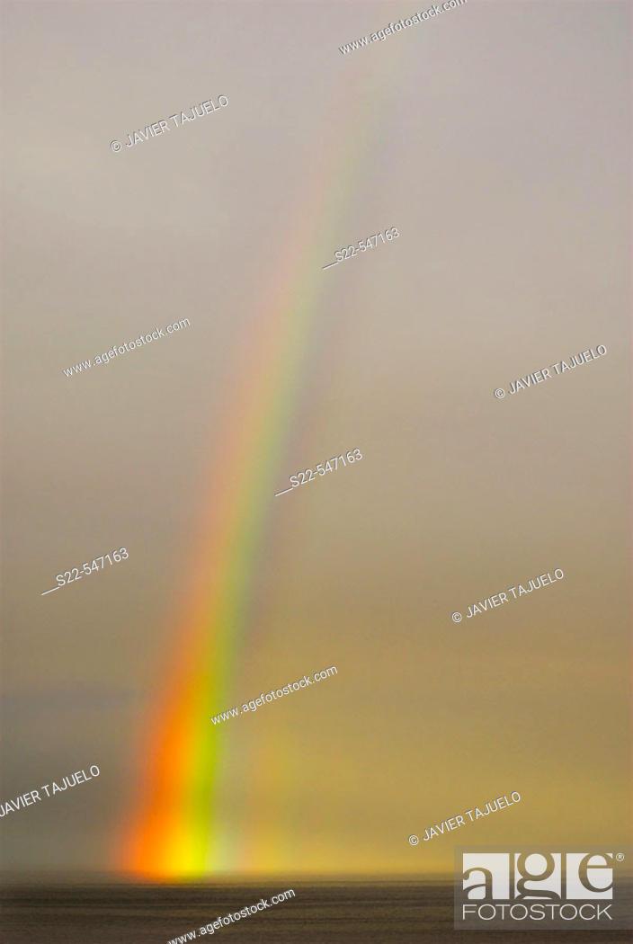 Stock Photo: Rainbow on the sea. Vadso, Noruega.