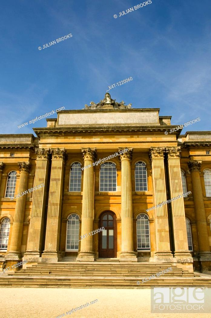 Stock Photo: The South facade of Blenheim Palace in autumn sunshine  Looking up at the main doorway.