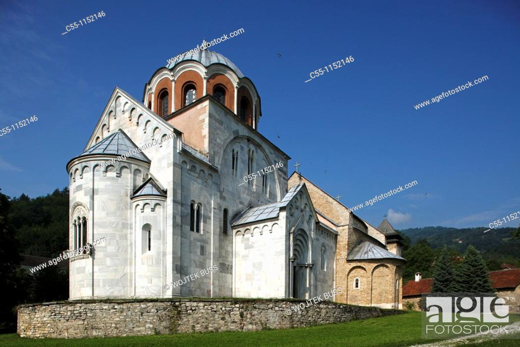 Stock Photo: Serbia, Studenica Monastery, founded by Grand Prince Stefan Nemanja, late 12th century, Church of the Virgin, Orthodox, christian, religious, exterior, outside.