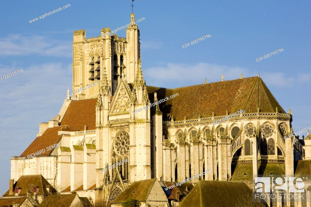 Stock Photo: Auxerre Cathedral, Burgundy, France.