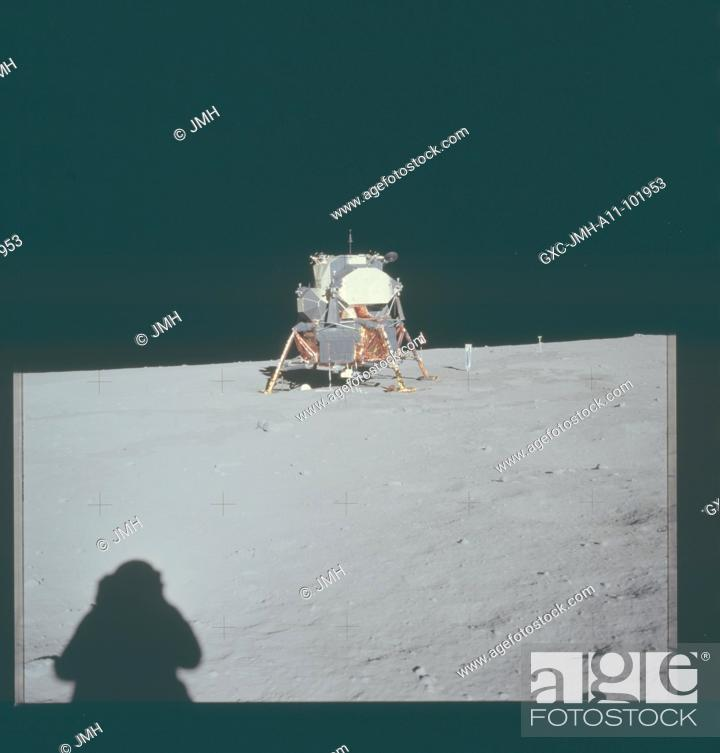 Stock Photo: Apollo 11 hasselblad image from film magazine - eva. armstrong photo of landing site from a distance. Apollo 11 mission, first landing on the moon, july 1969.