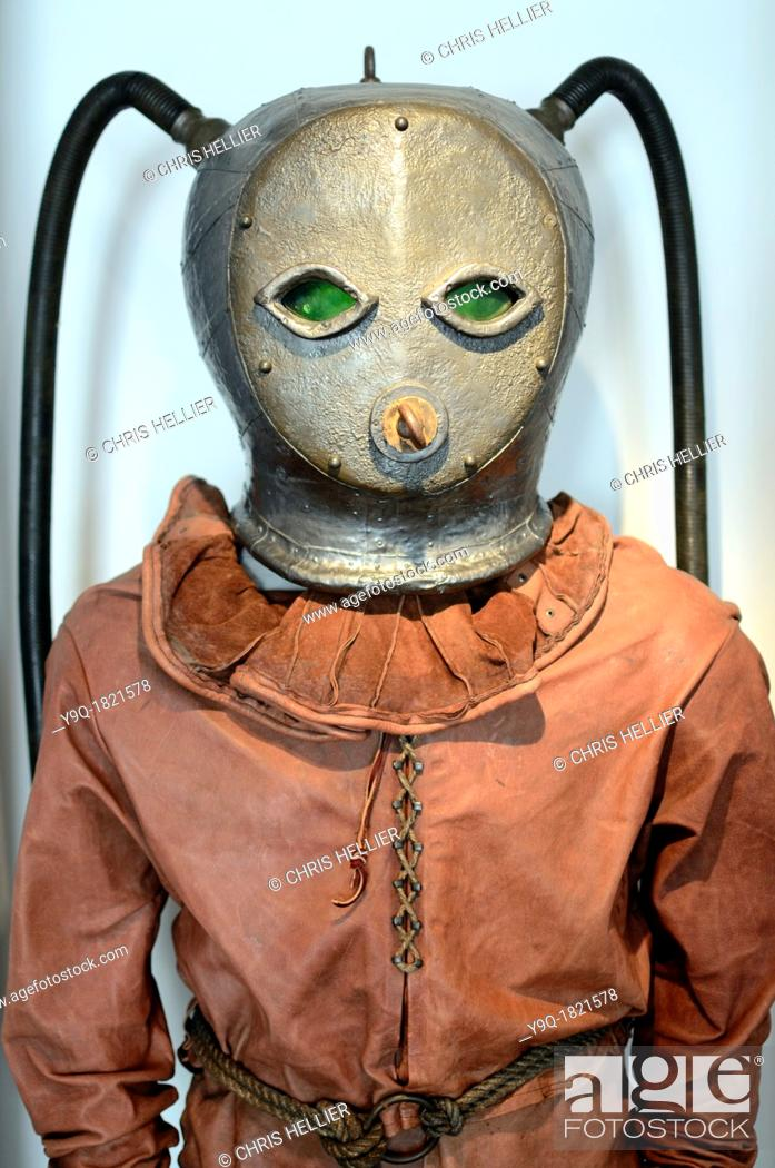 Stock Photo: First Dive Suit 'Scaphandre' 1775 Reconstruction.