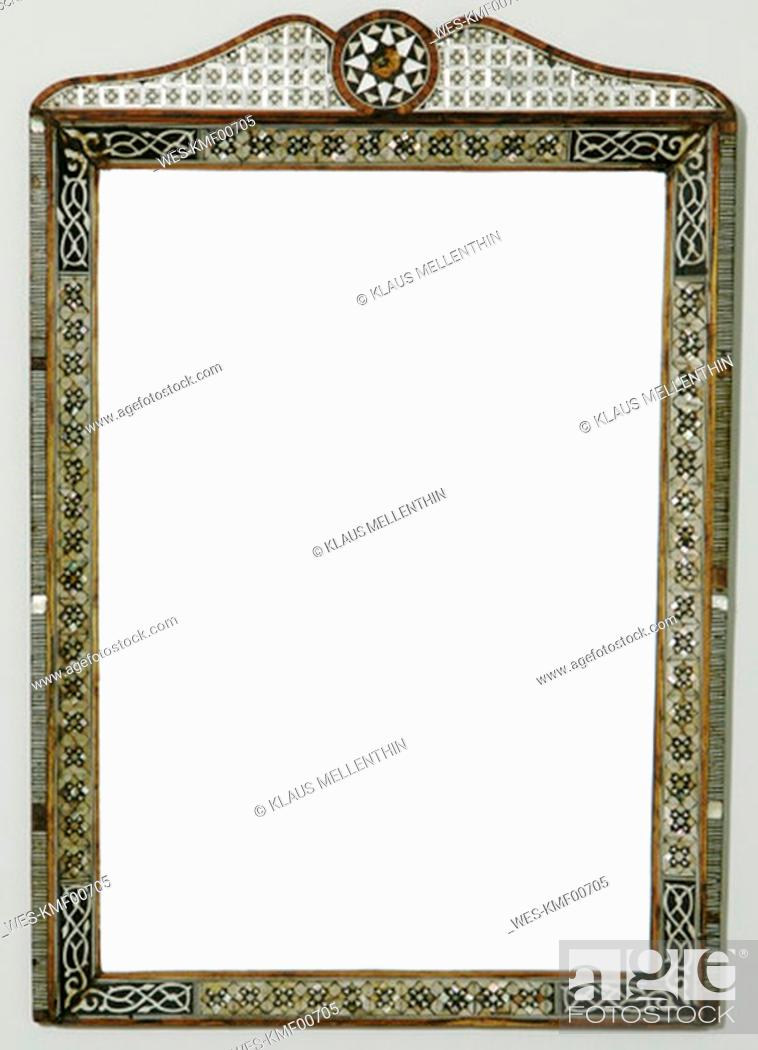 Stock Photo: Picture frame with marqueteries, close-up.