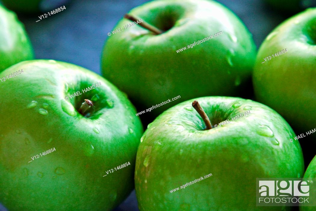 Stock Photo: Green apples.