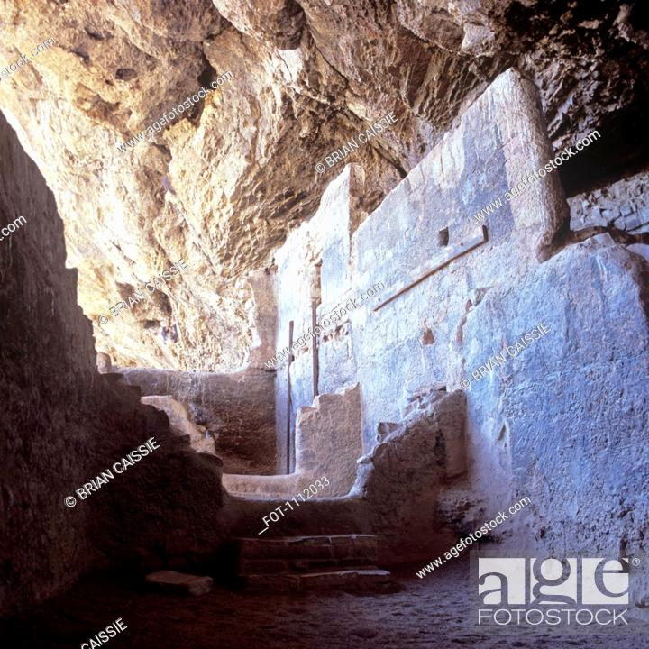 Stock Photo: Ancient cave dwellings in Tonto National Park, Arizona.