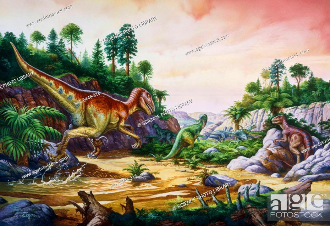 Stock Photo: Dromaeosaurs and Rhabdodons. Artwork of two Dromaeosaur dinosaurs chasing a herd of Rhabdodons. Dromaeosaur dinosaurs were carnivores.