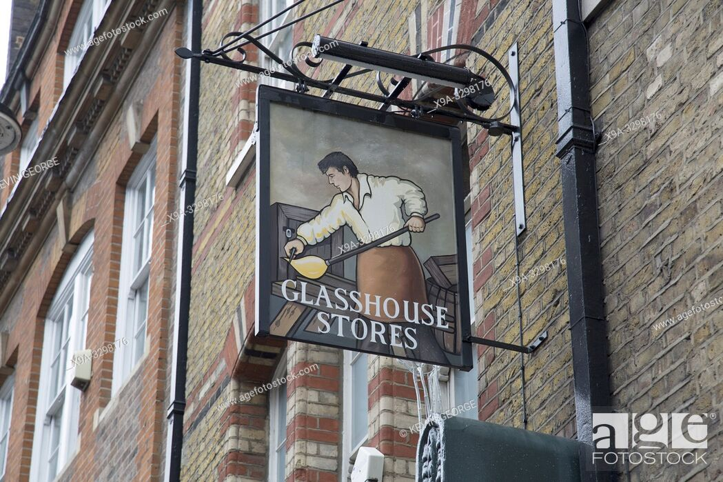 Stock Photo: Glasshouse Stores Pub Sign; Brewer Street; London; England.