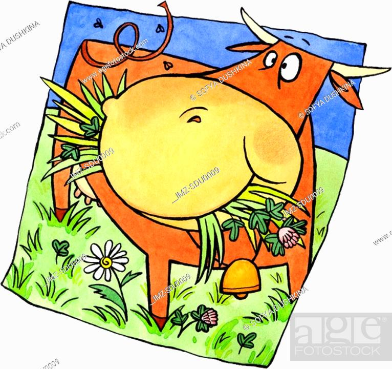 Stock Photo: A cow eating grass in a pasture.