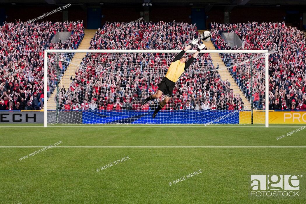 Stock Photo: Goalkeeper saving a goal.
