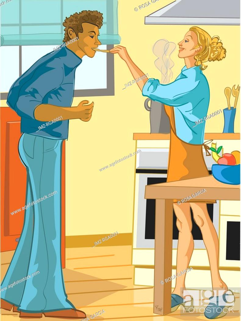 Stock Photo: woman cooking for her boyfriend.