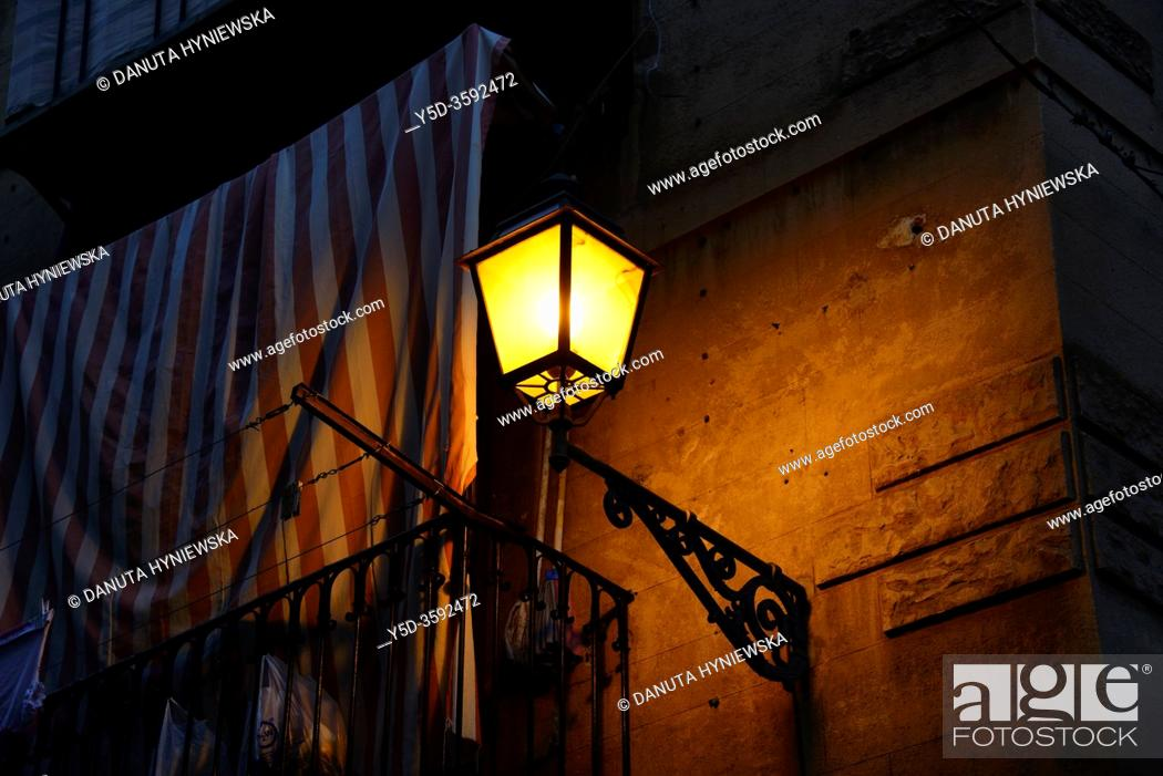 Stock Photo: Lantern in historic part of Palermo, Sicily, Italy, Europe.