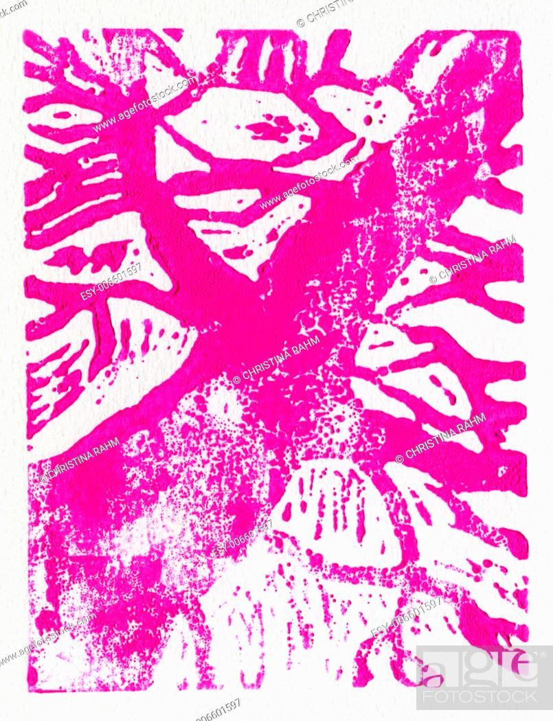 Stock Photo: Tree print, original made in linoleum print technique, in pink.