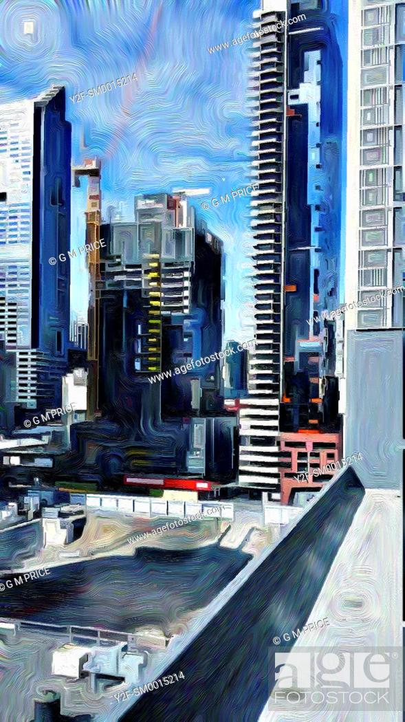 Stock Photo: painting filter view Melbourne city buildings and building site.