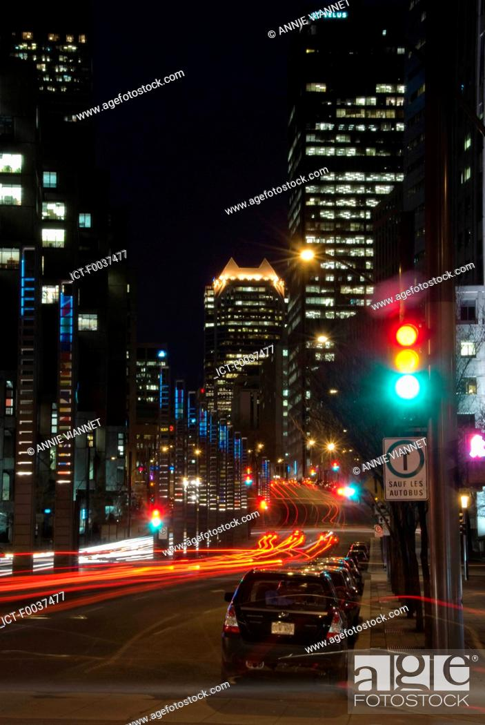 Stock Photo: Canada, Quebec, Montreal by night.